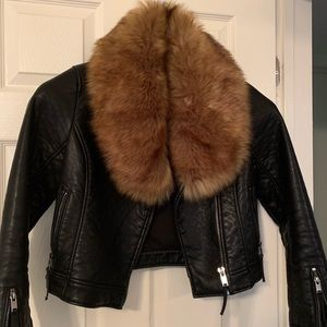 Top shop faux leather jacket with fur collar.